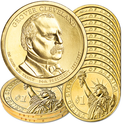 Image for 2012 10P & 10D Grover Cleveland (Term 2) Presidential Dollar Set from Littleton Coin Company