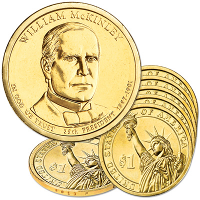 Image for 2013-P Five William McKinley Presidential Dollars from Littleton Coin Company