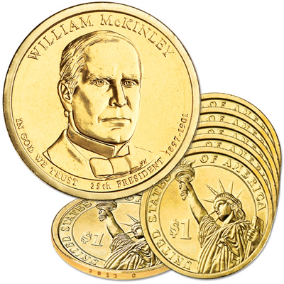 Image for 2013-D Five William McKinley Presidential Dollars from Littleton Coin Company