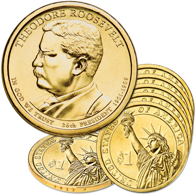 Image for 2013-P Five Theodore Roosevelt Presidential Dollars from Littleton Coin Company