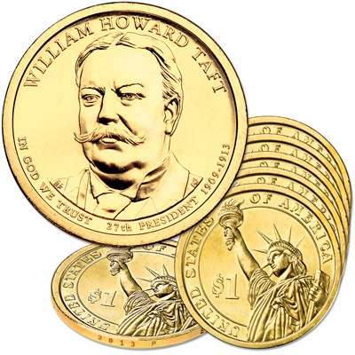 Image for 2013-P Five William Howard Taft Presidential Dollars from Littleton Coin Company