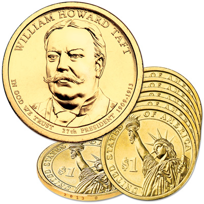 Image for 2013-D Five William Howard Taft Presidential Dollars from Littleton Coin Company
