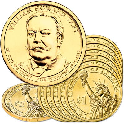 Image for 2013-D Ten William Howard Taft Presidential Dollars from Littleton Coin Company