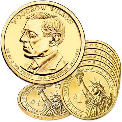 Image for 2013-P Five Woodrow Wilson Presidential Dollars from Littleton Coin Company