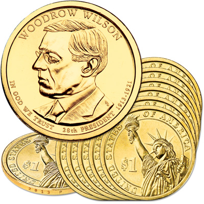Image for 2013-P Ten Woodrow Wilson Presidential Dollars from Littleton Coin Company