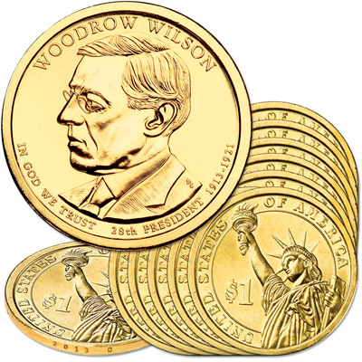 Image for 2013-D Ten Woodrow Wilson Presidential Dollars from Littleton Coin Company
