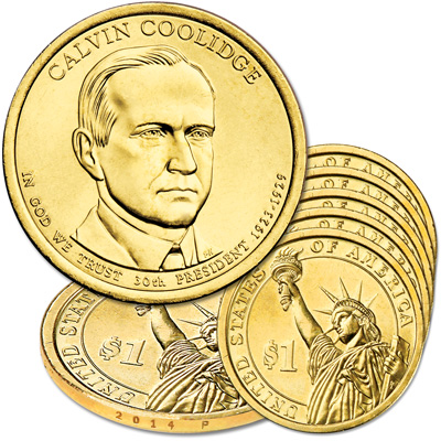 Image for 2014-P Five Calvin Coolidge Presidential Dollars from Littleton Coin Company