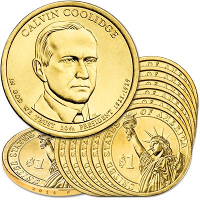 Image for 2014-P Ten Calvin Coolidge Presidential Dollars from Littleton Coin Company