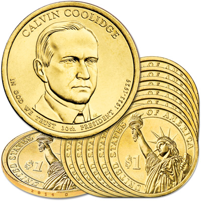 Image for 2014-D Ten Calvin Coolidge Presidential Dollars from Littleton Coin Company