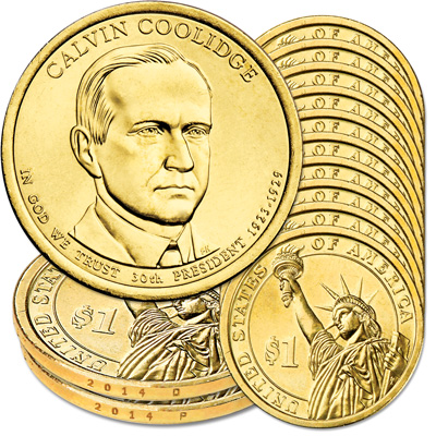 Image for 2014 10P & 10D Calvin Coolidge Presidential Dollar Set from Littleton Coin Company