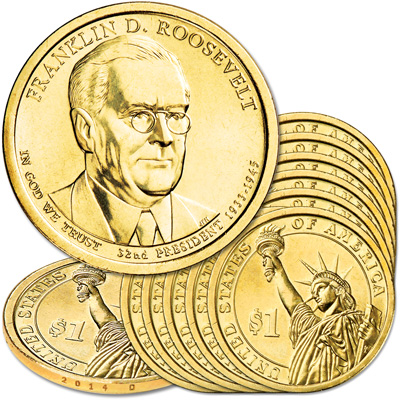 Image for 2014-D Ten Franklin D. Roosevelt Presidential Dollars from Littleton Coin Company