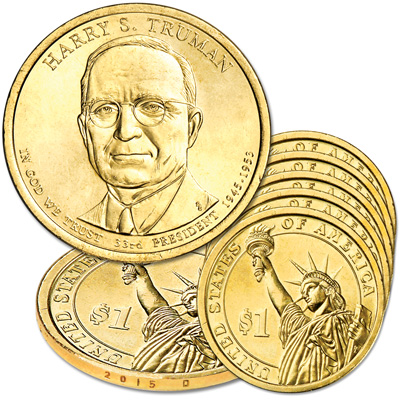 Image for 2015-D Five Harry S. Truman Presidential Dollars from Littleton Coin Company