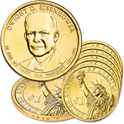 Image for 2015-P Five Dwight D. Eisenhower Presidential Dollars from Littleton Coin Company