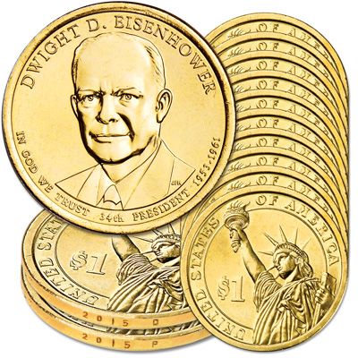 Image for 2015 10P & 10D Dwight D. Eisenhower Presidential Dollar Set from Littleton Coin Company