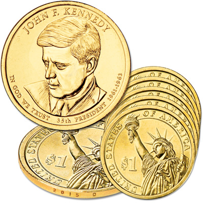 Image for 2015-D Five John F. Kennedy Presidential Dollars from Littleton Coin Company