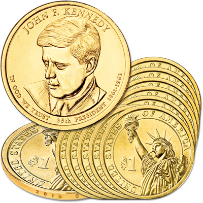 Image for 2015-D Ten John F. Kennedy Presidential Dollars from Littleton Coin Company