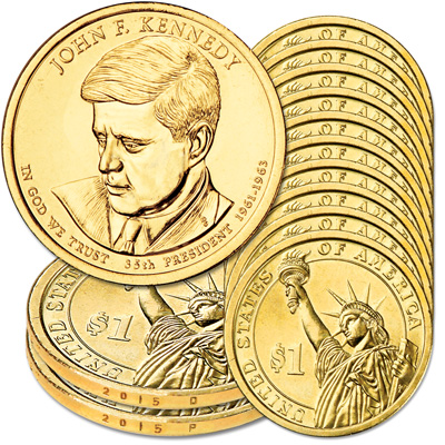 Image for 2015 10P & 10D John F. Kennedy  Presidential Dollar Sets from Littleton Coin Company