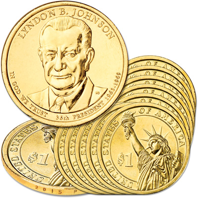 Image for 2015-P Ten Lyndon B. Johnson Presidential Dollars from Littleton Coin Company