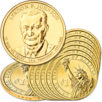 Image for 2015-D Ten Lyndon B. Johnson Presidential Dollars from Littleton Coin Company