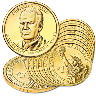 Image for 2016-P Ten Gerald R. Ford Presidential Dollars from Littleton Coin Company