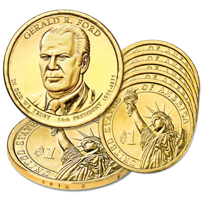 Image for 2016-D Five Gerald R. Ford Presidential Dollars from Littleton Coin Company