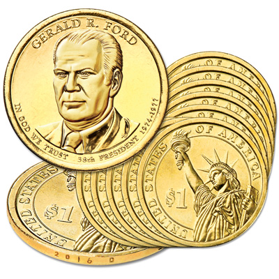 Image for 2016-D Ten Gerald R. Ford Presidential Dollars from Littleton Coin Company