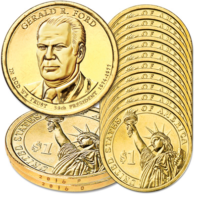 Image for 2016 10P & 10D Gerald R. Ford Presidential Dollar Set from Littleton Coin Company