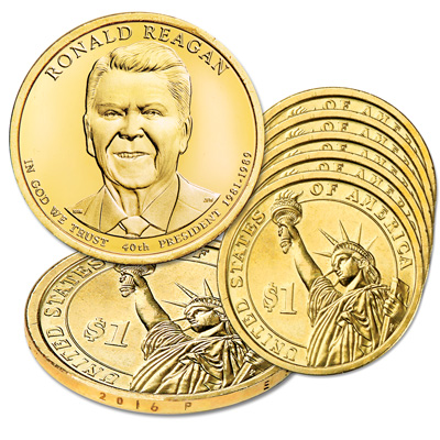 Image for 2016-P Five Ronald Reagan Presidential Dollars from Littleton Coin Company