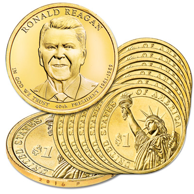 Image for 2016-P Ten Ronald Reagan Presidential Dollars from Littleton Coin Company