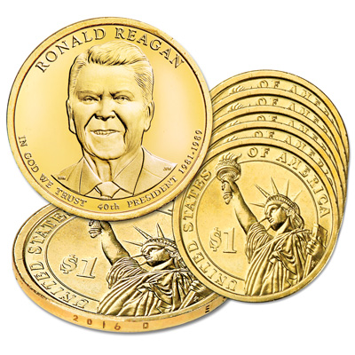 Image for 2016-D Five Ronald Reagan Presidential Dollars from Littleton Coin Company