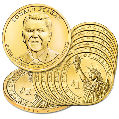 Image for 2016-D Ten Ronald Reagan Presidential Dollars from Littleton Coin Company