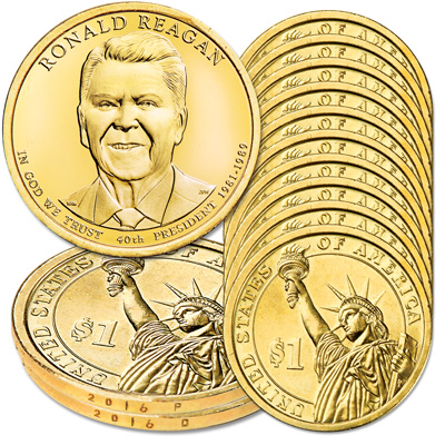 Image for 2016 10P & 10D Ronald Reagan Presidential Dollar Set from Littleton Coin Company