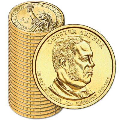 Image for 2012-P Twenty-Five Chester A. Arthur Presidential Dollars from Littleton Coin Company