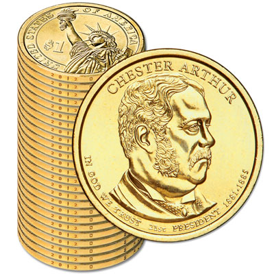 Image for 2012-D Twenty-Five Chester A. Arthur Presidential Dollars from Littleton Coin Company