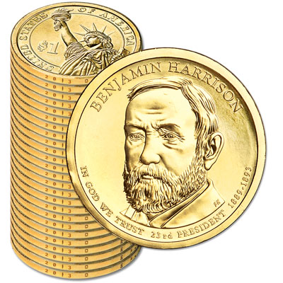 Image for 2012-D Twenty-Five Benjamin Harrison Presidential Dollars from Littleton Coin Company