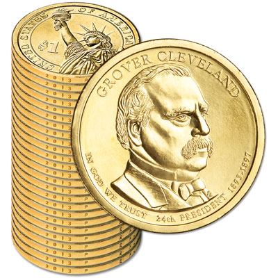 Image for 2012-P Twenty-Five Grover Cleveland (Term 2) Presidential Dollars from Littleton Coin Company
