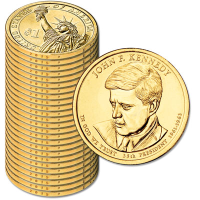 Image for 2015-P Twenty-Five John F. Kennedy Presidential Dollars from Littleton Coin Company