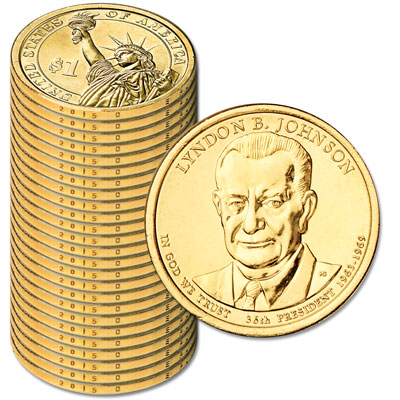 Image for 2015-D Twenty-Five Lyndon B. Johnson Presidential Dollars from Littleton Coin Company