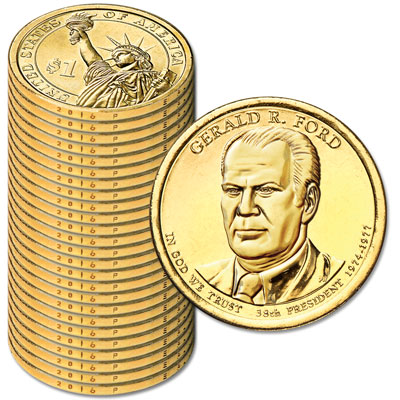 Image for 2016-P Twenty-Five Gerald R. Ford Presidential Dollars from Littleton Coin Company