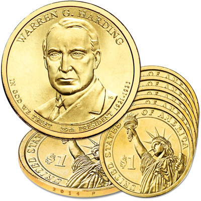 Image for 2014-P Five Warren G. Harding Presidential Dollars from Littleton Coin Company