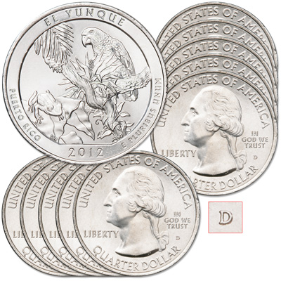 Image for 2012-D Ten El Yunque National Forest Quarters from Littleton Coin Company
