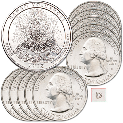 Image for 2012-D Ten Hawai'i Volcanoes National Park Quarters from Littleton Coin Company