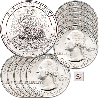 Image for 2012-S Ten Unc. Hawai'i Volcanoes National Park Quarters from Littleton Coin Company
