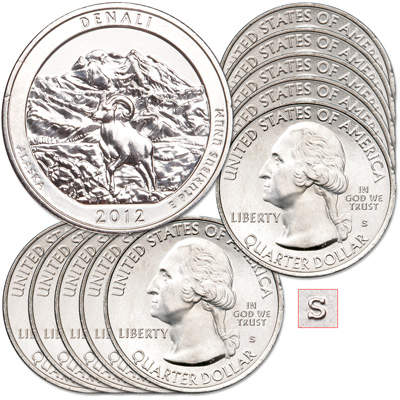 Image for 2012-S Ten Unc. Denali National Park & Preserve Quarters from Littleton Coin Company