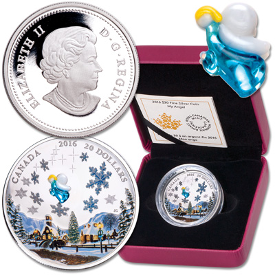 Image for 2016 Canada 1 oz. Silver $20 Venetian Glass Angel & Winter Scene from Littleton Coin Company