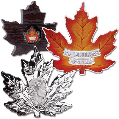 Image for 2016 Canada Colorized 1 oz. Silver Maple Leaf-Shaped $20 from Littleton Coin Company