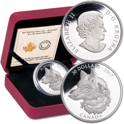 Image for 2017 Canada 2 oz. Silver $30 Zentangle Wolf from Littleton Coin Company