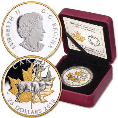 Image for 2018 Canada Silver & Gold-Plated $25 Caribou from Littleton Coin Company