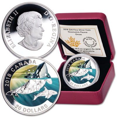 Image for 2018 Canada Silver $20 Geometric Orca from Littleton Coin Company