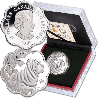 Image for 2018 Canada Silver $15 Lotus Year of the Dog from Littleton Coin Company